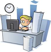 An office employee working late overtime behind a desk - stock illustration