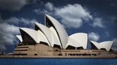 Sydney Austrailia Opera House with Timelapse Clouds in the Background Stock Footage