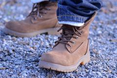 mountaineer shoes with jeans - stock photo
