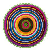 Colorful knitted crochet acrylic mat on a white background - stock photo