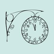 Street clock with a dial of midnight New year - stock illustration