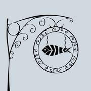Street sign fish shop Stock Illustration