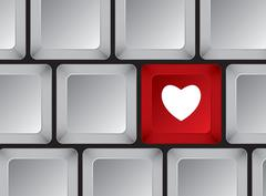 Keyboard buttons. One of them is red with white heart Stock Illustration