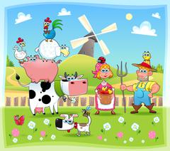 Funny farm family. - stock illustration