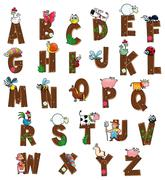 Stock Illustration of Alphabet with animals and farmers.