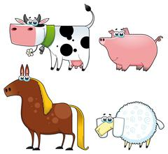 Funny farm animals. - stock illustration