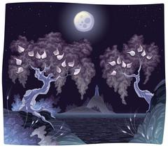 Romantic landscape on the sea in the night. Stock Illustration