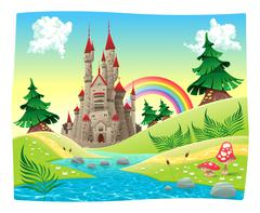 Panorama with castle. - stock illustration