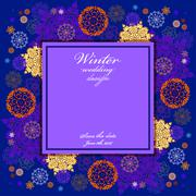 Winter wedding frame with red and blue snowflakes. - stock illustration