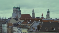 Bridges over the river and medieval tower in Munich Germany Stock Footage