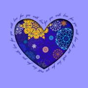 Winter heart design with golden blue snowflakes. Love card. - stock illustration