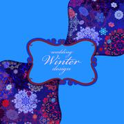 Stock Illustration of Winter seamless pattern with pink and blue snowflakes. Text label.