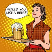 The waitress beer on a tray - stock illustration