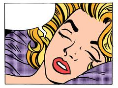 Beautiful woman blonde sleeps and dreams - stock illustration