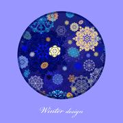 Winter circle design with golden and blue. Stock Illustration