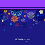 Winter border design with red and blue snowflakes. - stock illustration