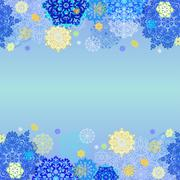 Winter design with pink and blue snowflakes on light background. - stock illustration