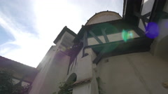 Low angle view from the Bran Castle's interior yard Stock Footage