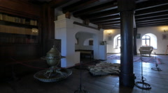 Beautiful medieval room inside Bran Castle Stock Footage
