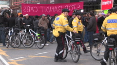 Toronto taxi and cab drivers protest against UBER by blocking traffic Stock Footage