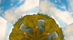 Artistic rotating glacial mountain half world grass snow water sky Iceland Stock Footage