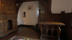 Medieval furniture inside a beautiful room at Bran Castle Stock Footage