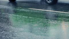 Closeup Of Cars Passing In The Rain Stock Footage