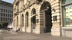 Credit Suisse entrance and facade Stock Footage