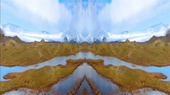 Icelandic glacier mountain river valley flyover artistic abstract Stock Footage