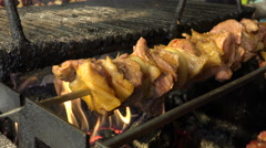 Kebabs fry on the BBQ grill. Close up footage. Stock Footage