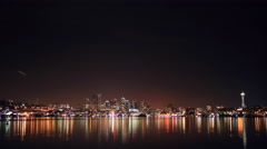 Gas Works Park View Seattle Night Evening Reflection 4K UHD Stock Footage