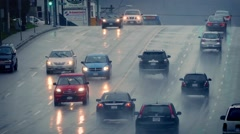 Cars And Bus On Wet Road In City Stock Footage