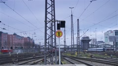Hurried movement of trains on major railroad in Munich Germany-timelapse Stock Footage