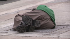 Desperate homeless hungry people on the streets of Toronto Stock Footage