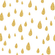 Golden rain drops vector seamless pattern. Glitter sparkle texture for holiday - stock illustration