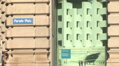 Credit Suisse at Paradeplatz, Zoom Out Stock Footage