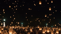 Yee Peng Lanna International 2015,Loi Krathong celebration. Stock Footage