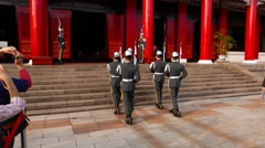 Guards march up stairs, synchronous, include sound Stock Footage