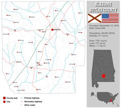 Alabama Bullock County Map Stock Illustration