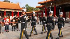 Gorgeous procession of military officers, parade ceremony honour guards change Stock Footage