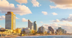 4K Tel Aviv At Day And Night.  Beachfront - Time Lapse Stock Footage