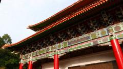 Details of Main Shrine, roof eaves decor, columns, bas-relief on side Stock Footage