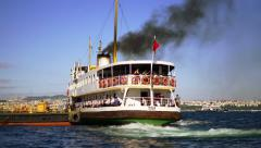 Ferry sailing out with polluted black smoke Stock Footage