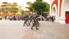Guards military ceremony march forward to paifang, slow loudly steps - stock footage