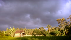 Ominous sky over shack in the jungle and rice fields in Ubud, Bali - stock footage