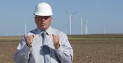 Windpower Plant Farm Manager Present Future Alternative Energy Electrical Power - stock footage