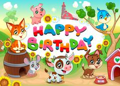 Happy Birthday card with farm animals - stock illustration