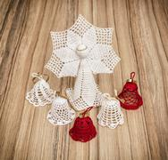 Red and white crochet christmas angel and bells Kuvituskuvat