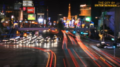 Las Vegas Boulevard Nevada Night Traffic Timelapse 4K UHD Stock Footage