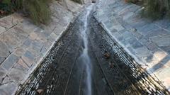 Los Angeles Getty Museum Waterfalls Fountain Stream Garden 4K UHD Stock Footage